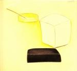 Nature morte au savon et un bâton d'encens 2, pastel sur papier Fabriano, 44 x 50 cm, 1990