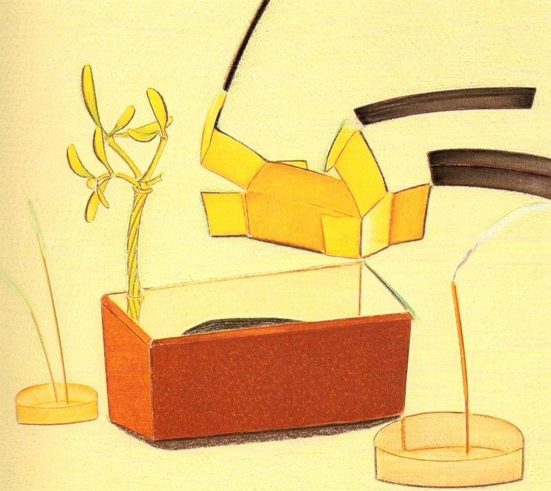 Nature morte aus trois fusains, pastel sur papier Fabriano, 71 x 80 cm, 1990