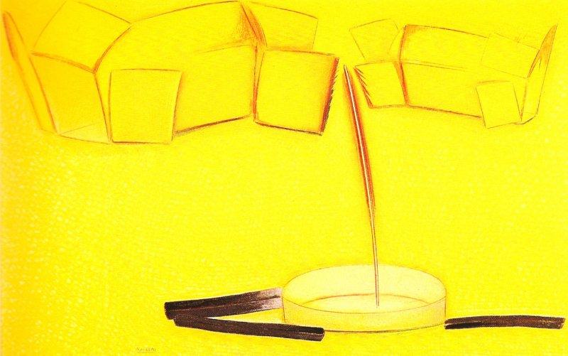 Nature morte aux deux boites et fusains, pastel sur papier Fabriano, 50 x 80 cm, 1990