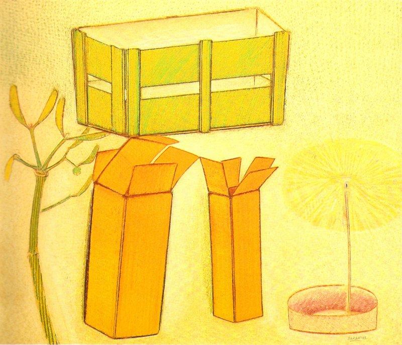 Nature morte aux deux boites, pastel sur papier Fabriano, 68 x 77 cm, 1990