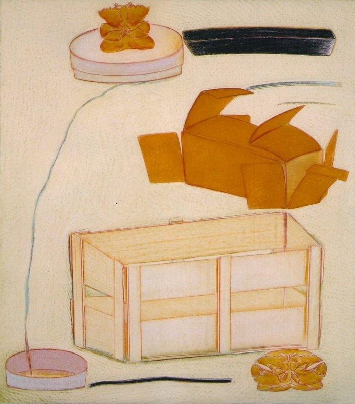 Nature morte aux quatre fusains, pastel sur papier Fabriano, 80 x 71 cm, 1990-1992