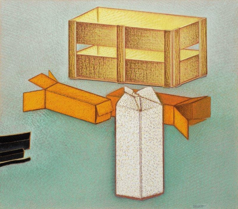 Nature morte avec une brique de lait, pastel sur papier Fabriano, ca. 68 x 77 cm, 1990