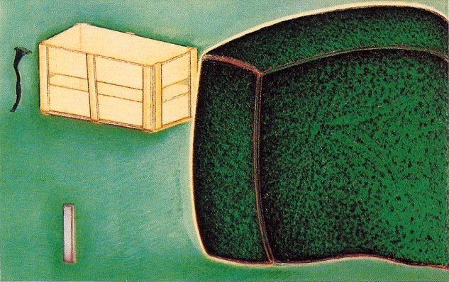 Nature morte avec une grande boite verte, pastel sur papier Fabriano, 68 x 106 cm, 1990