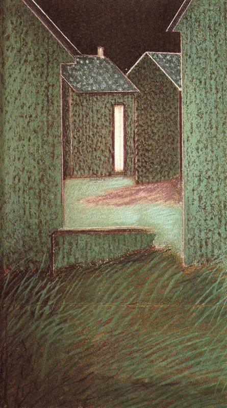 Paysage du Bourny-Laval la nuit, pastel sur papier Fabriano marouflé sur bois, 68 x 39 cm, 1982