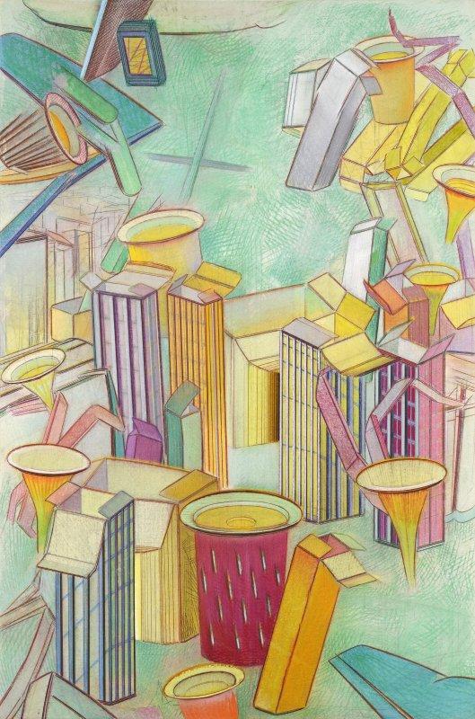 La grande pharmacity 3, pastel sur papier Fabriano marouflé sur bois, 122 x 81 cm, 2013