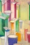 detail du tableau la grande pharmacie, pastel sur papier Fabrianao marouflé sur bois, 162 x 81 cm, 2006