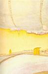 Vue avec cabanon, pastel sur papier marouflé sur bois, 123 x 81 cm, 1990